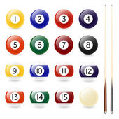 Set of sixteen billiard balls and two cues — Stock Vector