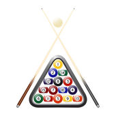 Vector billiards balls, triangle and two cues — Stock Vector