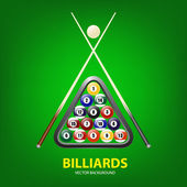 Background with billiards balls, triangle and two cues — Stock Vector