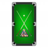 Billiards balls, triangle and two cues on a pool table. Vector EPS10 illustration.  — Stock Vector
