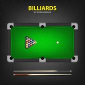 Billiard balls in triangle and two cues on a pool table. — Stock Vector