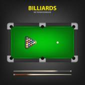 Vector billiard balls in triangle and two cues on a pool table.  — Stock Vector