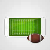 Vector smartphone with football and field on the screen.  — Stok Vektör