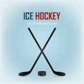 Two crossed hockey sticks and puck. Vector background. — Stock Vector
