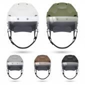 Ice hockey helmets with visor, isolated on white. — Stock Vector