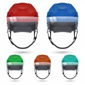Ice hockey helmets with visor, isolated on white background — Stock Vector