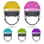 Ice hockey helmets with visor, isolated. — Stock Vector