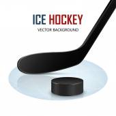 Ice hockey stick and puck on rink. Vector background.  — Vector de stock