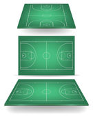 Green basketball court with perspective — Stock Vector