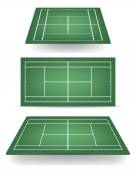 Set of green tennis courts with perspective — Stock Vector