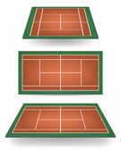 Set of combinated tennis courts with perspective — Stock Vector