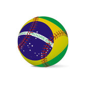 Baseball with flag of Brazil, isolated on white — Stock Vector