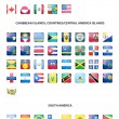 Set of glossy button flags -  North AND South America, Caribbean Islands, countries, Central America Islands. — Stock Vector #75118003