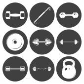 Set of sign weights for fitness or gym icons — Stock Vector