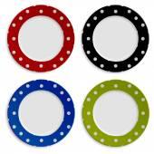 Renkli resimler üzerinde beyaz izole polka noktalı deseni ile kümesi — Stok Vektör