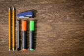 Pencils on an old wooden table table. close-up. — Stock Photo