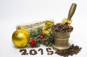 Christmas composition with coffee beans, 2015 — Stok fotoğraf