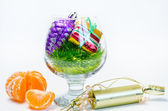 Christmas decorations and tangerines — Stock Photo
