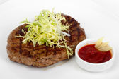 Succulent thick juicy portions of fried fillet steak, served wit — Stok fotoğraf