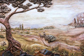 Vintage old fresco decoration on the wall, rural landscape. Evpa — Stock Photo