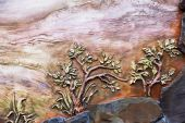 Vintage old fresco decoration on the wall, rural landscape. Evpa — Stock fotografie