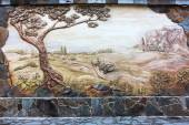 Vintage old fresco decoration on the wall, rural landscape. Evpa — 图库照片