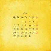 Calendar 2015 in the retro style, vintage background. July — Foto de Stock