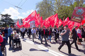 SEVASTOPOL, CRIMEA - MAY 9, 2015: People are columns on parade in honor of the 70th anniversary of Victory Day, May 9, 2015, Sevastopol — Stock Photo