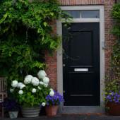 Preto à porta de casa, parede de tijolo — Fotografia Stock