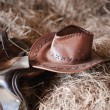 American West rodeo cowboy white straw hat — Stock Photo #63274667