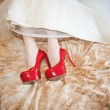 Wedding details - red brides shoes — Stock Photo #63275059
