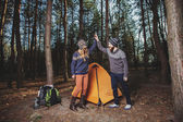 Hikers setting a tent in the wood — Stock Photo