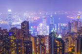Distrito de negócios de Hong kong à noite — Fotografia Stock