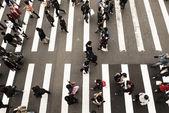 斑马线行人走在街道上 — 图库照片