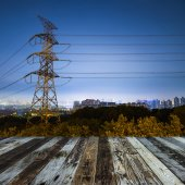 High voltage post.High-voltage tower sky background. — Stock Photo