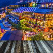 Jiufen, Taiwan hillside with old teahouses at dusk. — Stock Photo