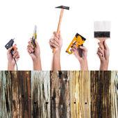Muchas herramientas de mano sobre fondo blanco — Foto de Stock
