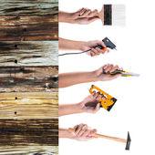 Mano che tiene molti strumenti su sfondo bianco — Foto Stock