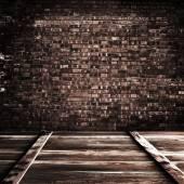 Wood and  brick texture background — Stockfoto