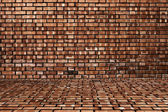 Wood and red brick texture background — Stock Photo
