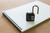There is a lock, meaning privacy notebook — Stockfoto