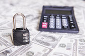 There is a lock, security deposits on banknotes — Stock Photo