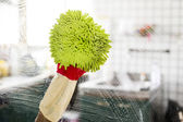 Cleaning - cleaning window pane with detergent, spring cleaning concept — Stock Photo