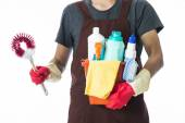 Portrait of man with cleaning equipment ready to clean house — Stock Photo