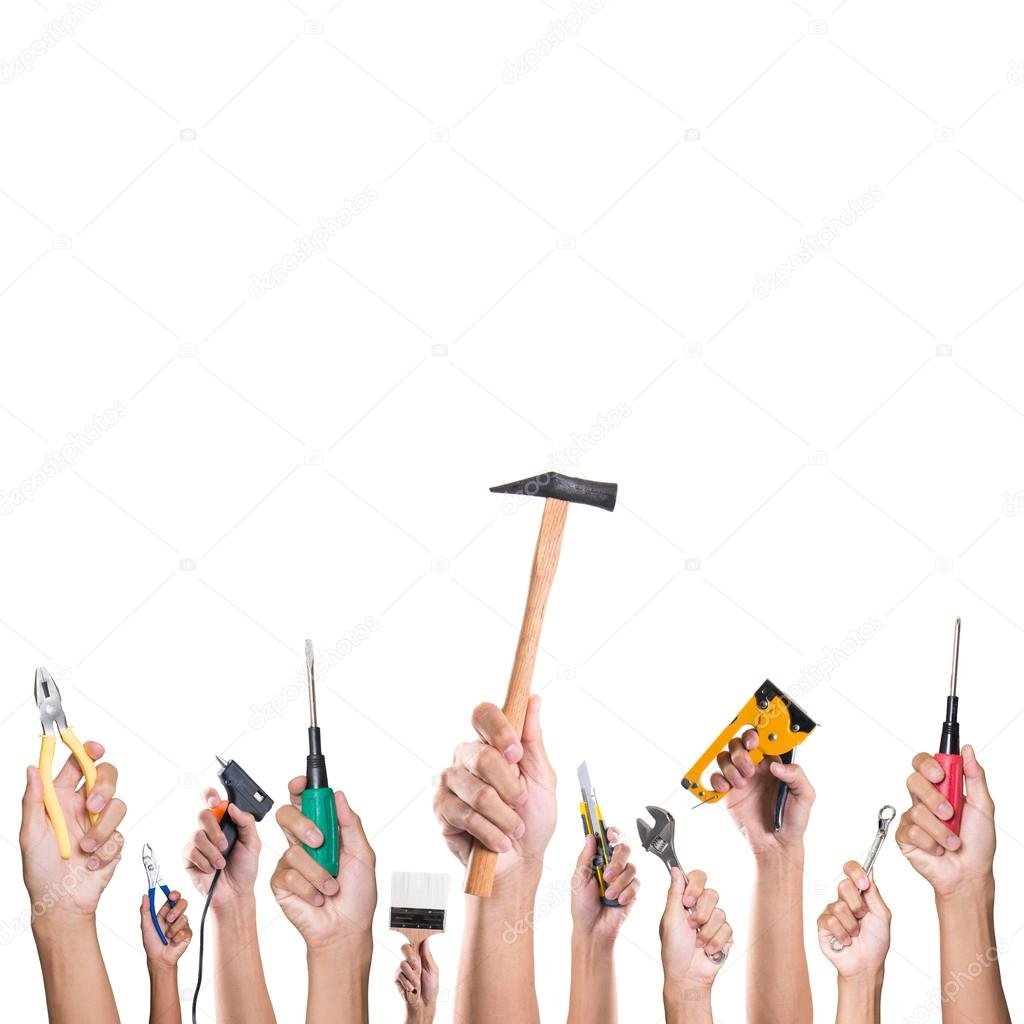 Hands With Construction Tools House Renovation Background