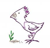 Amusing birdie, pecking grain — Stock Vector