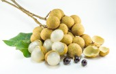 Organic fresh longan isolated picture  on white background — Photo