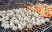 Grill shrimp and shellfish — Stock Photo