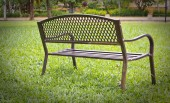 Wooden park bench at the public park image — Stock Photo