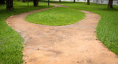 Concrete walk way surrounded by green grasses — Stock Photo